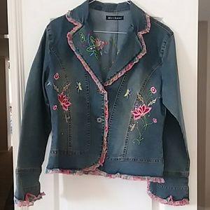 Floral embellished size small denium jacket pink